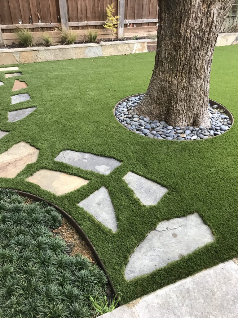 Stone Pavers with Turf Installation