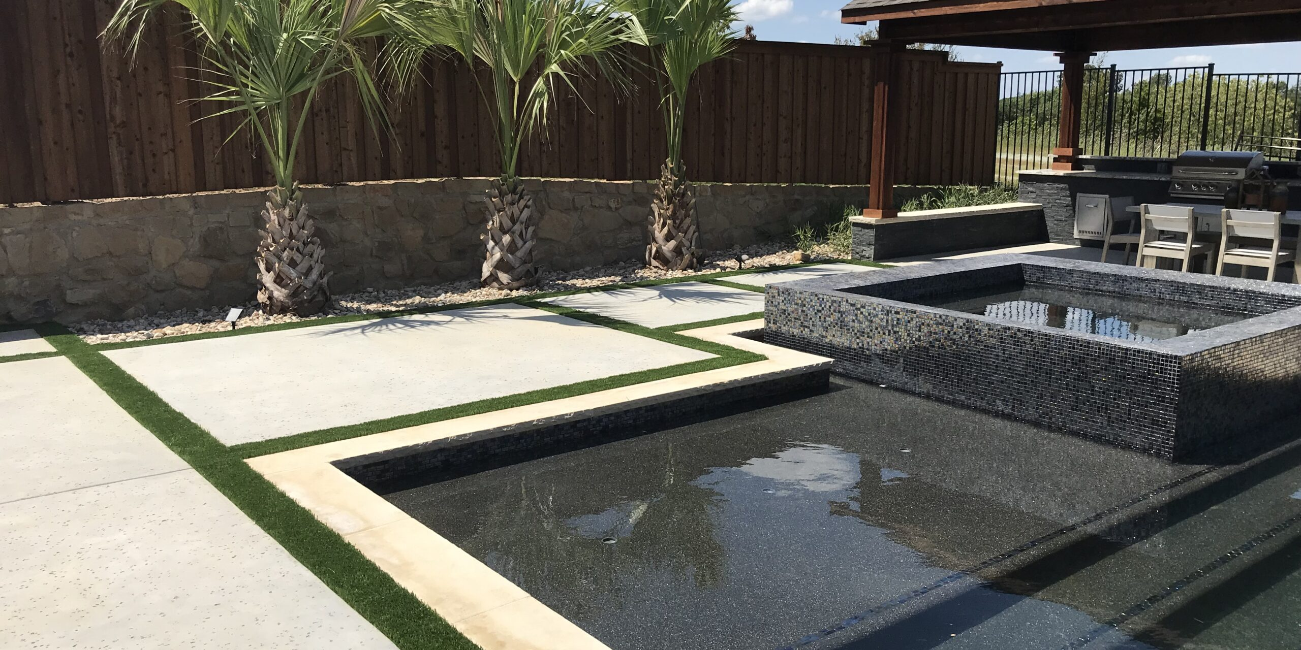 Pool Deck with Turf Ribbons
